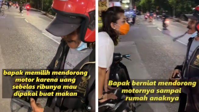 Demi Sesuap Nasi, 5 Orang Ini Rela Dorong Motor hingga Jalan Kaki 2 Km