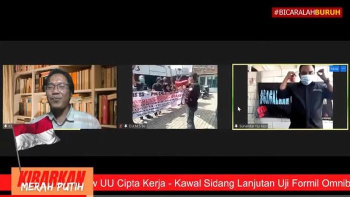 Tangkapan layar penampakan demo buruh yang digelar secara virtual (Dok.istimewa)