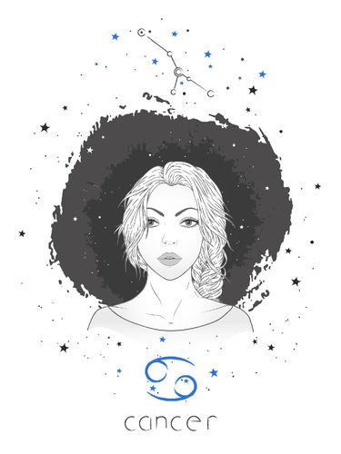 Cancer zodiac sign and constellation. Vector illustration with a beautiful horoscope symbol girl on grunge background.