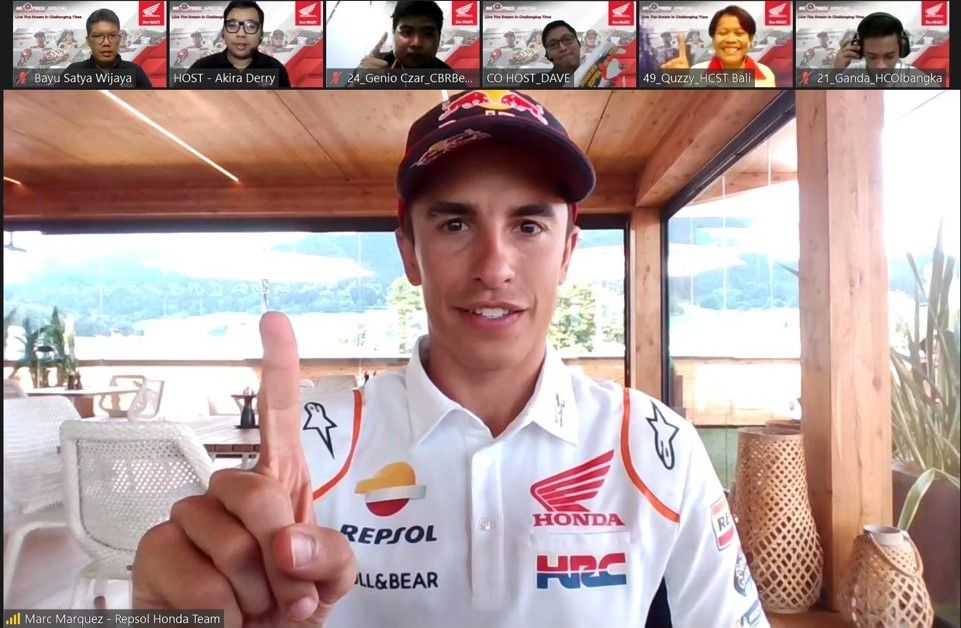 Marc Marquez Silaturahmi dengan Komunitas Motor Indonesia secara online dalam event yang digelar oleh AHM.