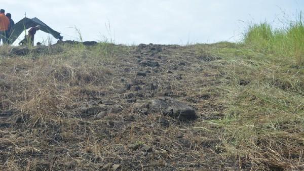 Jalan arwah itu berupa struktur batu yang disusun satu lapisan, memanjang pada permukaan lereng dari kaki bukit hingga puncak bukit. Pada masa prasejarah, jalan arwah berkaitan dengan religi. (Hari Suroto/Istimewa)