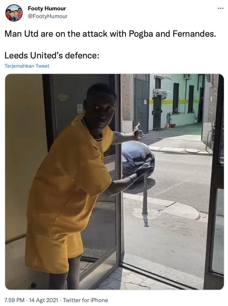 Netizen merayakan kemenangan Manchester United vs Leeds United dengan skor 5-1 di stadion Old Trafford, Sabtu (14/8) waktu setempat.
