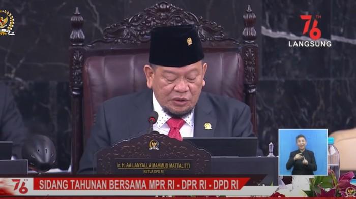 Ketua DPD RI La Nyalla (Foto: Tangkapan layar YouTube Setpres)