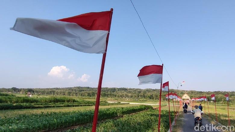 Suasana area persawahan yang dihiasi bendera merah putih di Dobangsan, Giripeni, Wates, Kulon Progo, Senin (16/8/2021).