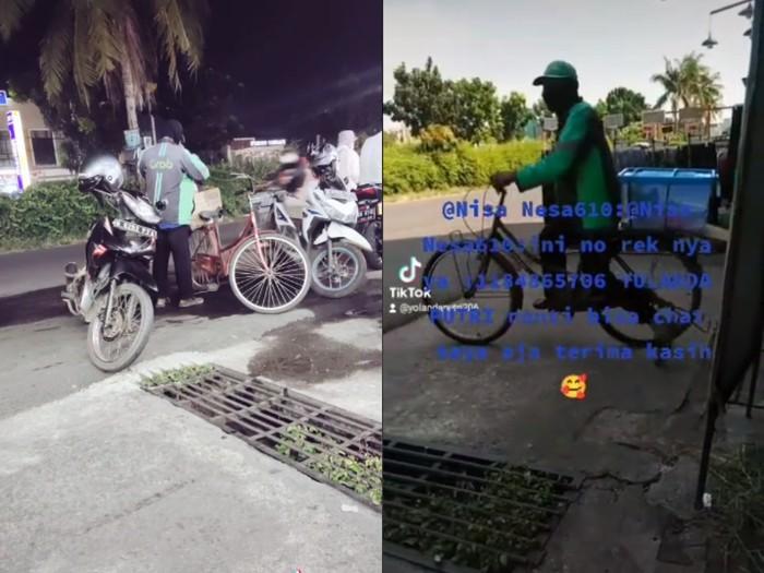 Motornya Disita Leasing, Driver Ojol Ini Antar Makanan Pakai Sepeda