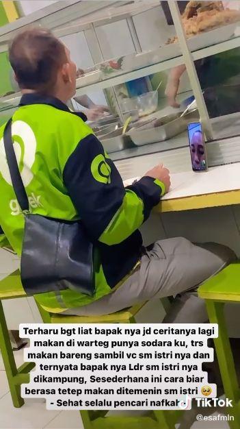 Bikin Baper! Driver Ojol Ini Makan Siang Bareng Istri via Video Call