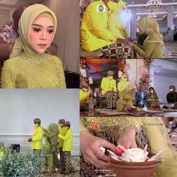 Gaya hijab Lesti Kejora saat acara adat Ngaras.