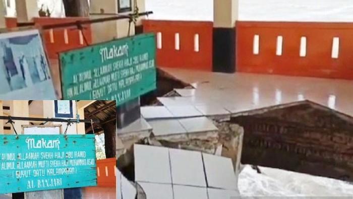 Makam Syekh Abu Hamid di Pantai Ujung Pandaran, Kalteng, terancam abrasi. Pemda menunggu keputusan keluarga untuk relokasi makam. (Foto Antara)