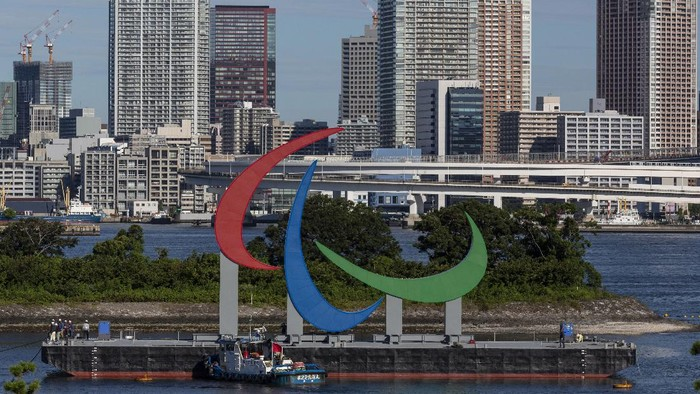 A Paralympic Symbol is seen installed at Odaiba Marine Park on Friday, Aug. 20, 2021, in Tokyo. TThe Tokyo Paralympics open on Aug. 24 in a ceremony at Tokyo's National Stadium. (Yuichi Yamazaki/Pool Photo via AP)