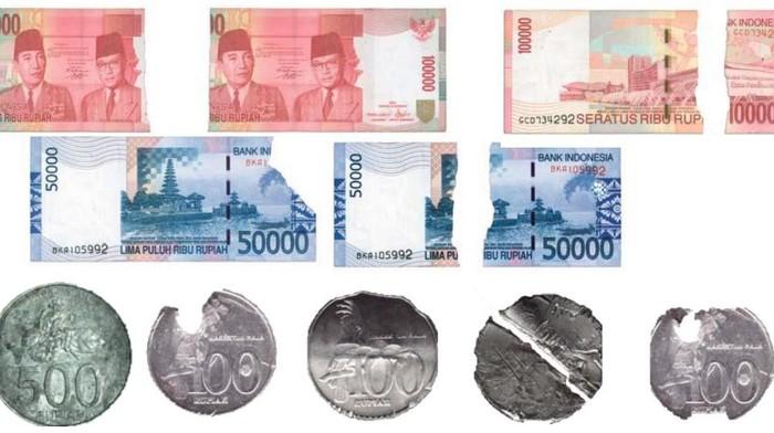Ciri-ciri uang tak layak edar: Uang Rusak hingga Uang Lusuh