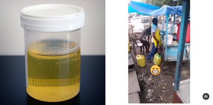 Kacau! Penjual Makanan Ini Tertangkap Buang Urinedi Gerobak Jualannya