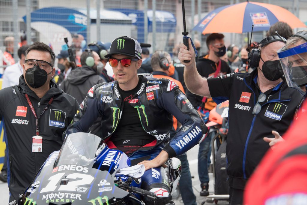 SPIELBERG, AUSTRIA - AUGUST 08:  Maverick Vinales of Spain and Monster Energy Yamaha MotoGP Team prepares to start on the grid during the MotoGP race during the MotoGP of Styria - Race at Red Bull Ring on August 08, 2021 in Spielberg, Austria. (Photo by Mirco Lazzari gp/Getty Images)