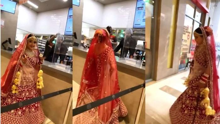 Ngakak! Pengantin Wanita Ini Tak Kuat Tahan Lapar Sampai Jajan Burger Sebelum Nikahan