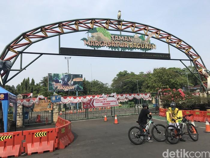 Taman Margasatwa Ragunan belum beroperasi. Warga belum bisa berolahraga outdoor di lokasi (Firda Cynthia/detikcom)