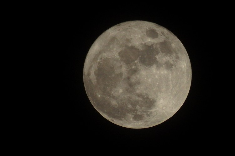 Fenomena Bulan Biru Musiman atau Seasonal Blue Moon di langit Bekasi, Minggu (22/8/2021). Bulan Biru adalah purnama ketiga dari salah satu musim astronomis yang di dalamnya terjadi empat kali bulan purnama. ANTARA FOTO/Paramayuda/wsj.