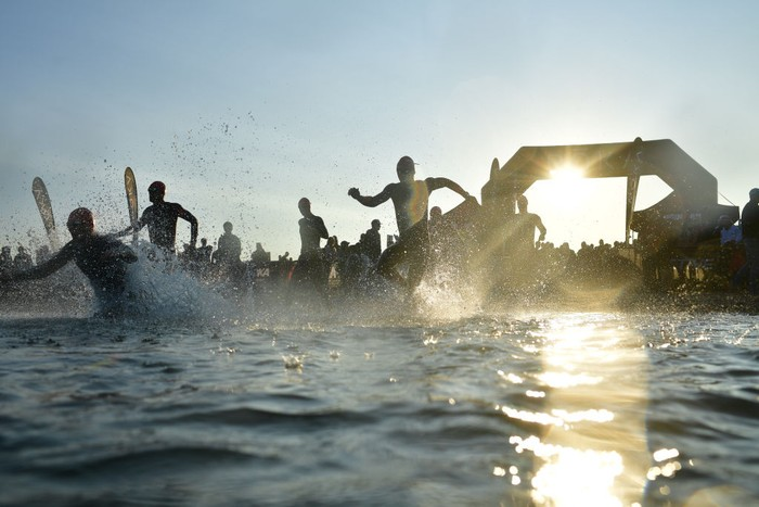 COPENHAGEN, DENMARK - AUGUST 22: Start of the Age group swim leg during the IRONMAN Copenhagen on August 22, 2021 in Copenhagen, Denmark. (Photo by Alexander Koerner/Getty Images for IRONMAN)