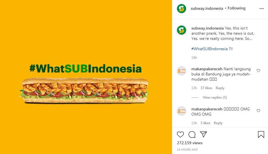 Bukan Prank, Subway Bakal Buka Lagi di Indonesia