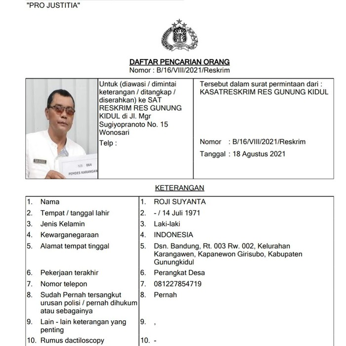 Lurah Karangawen, Kapanewon Girisubo, Gunungkidul Roji Suyanta masuk dalam daftar DPO. Roji sedang diusut kasus dugaan korupsi uang ganti rugi jalan lingkar selatan (JLS).