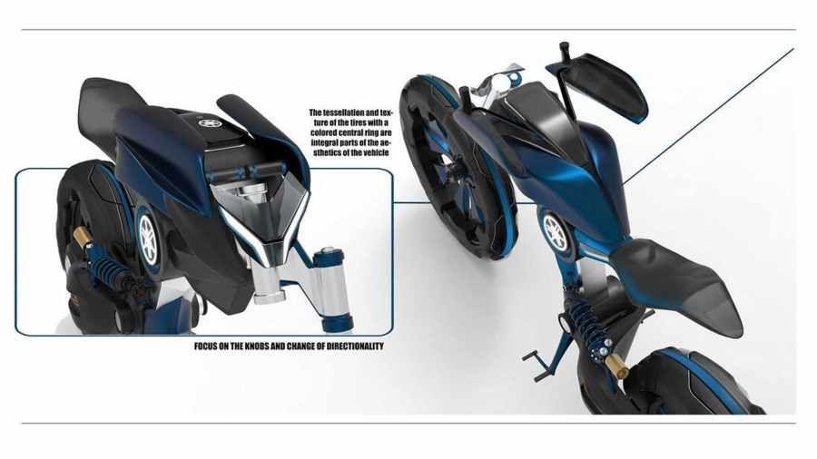 Motor konsep Yamaha Double Y karya Mahasiswa asal Turin Italia.