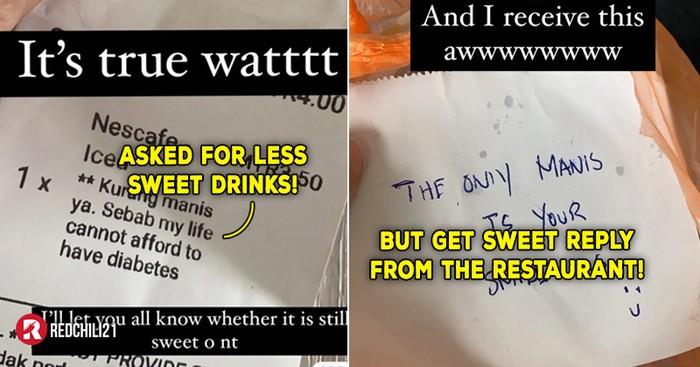 Pesan Minuman Gulanya Sedikit, Wanita Ini Malah Dapat Pesan Gombal dari Restoran