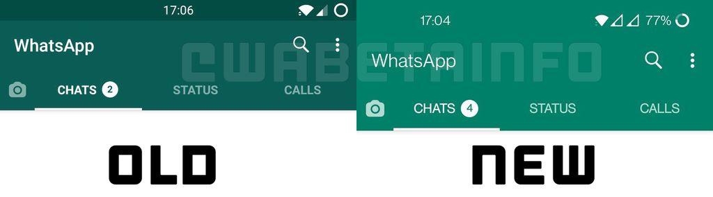 Tampilan WhatsApp dengan warna baru