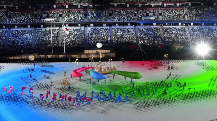 Entertainers perform during the opening ceremony for the 2020 Paralympics at the National Stadium in Tokyo, Tuesday, Aug. 24, 2021. (AP Photo/Eugene Hoshiko)