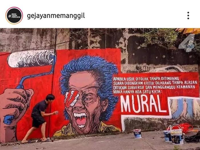 Lomba mural yang digelar oleh Gejayan Memanggil, Rabu (25/8/2021).