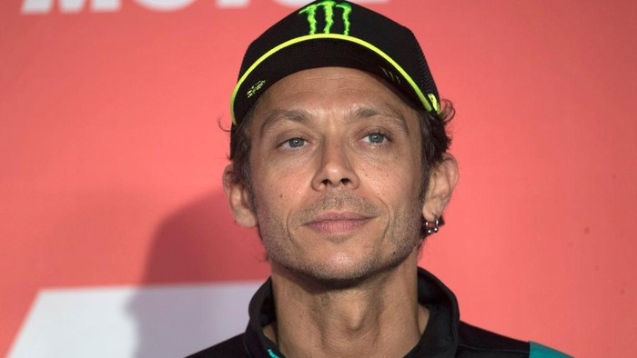 ASSEN, NETHERLANDS - JUNE 24: Valentino Rossi of Italy and Petronas Yamaha SRT smiles during the MotoGP press conference pre-event during the MotoGP of Netherlands - Previews at TT Circuit Assen on June 24, 2021 in Assen, Netherlands. (Photo by Mirco Lazzari gp/Getty Images)