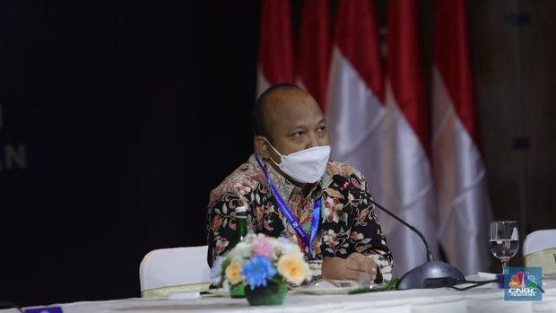 Direktur Eksekutif INDEF, Tauhid Ahmad di acara Sarasehan 100 Ekonom  (CNBC Indonesia/Tri Susilo)
