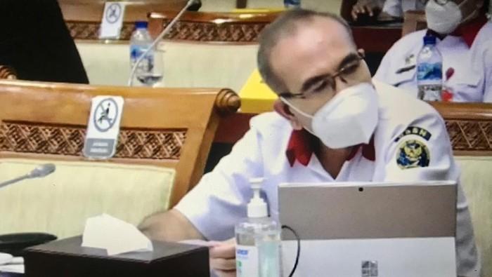 Kepala BSSN Hinsa Siburian dalam rapat di Komisi I DPR soal anggaran 2022, kompleks parlemen, Kamis (26/8/2021).