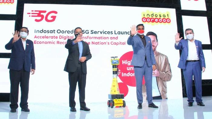 Indosat Ooredoo meluncurkan 5G secara komersial di Jakarta, Kamis (26/8/2021).