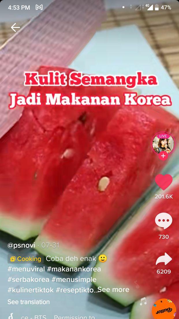 Kulit Semangka Kaya Nutrisi, Bisa Diolah Jadi Kimchi