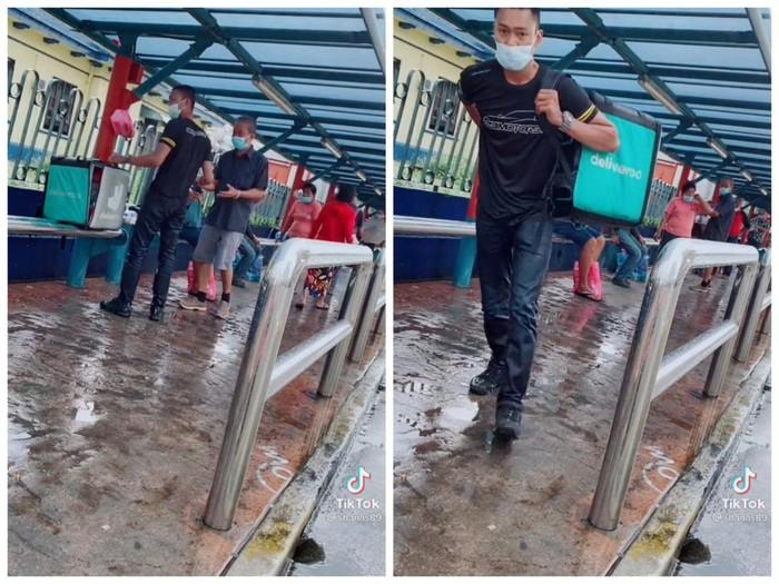 Mulia! Pria Ini Rela Menembus Hujan Demi Bagikan Makanan pada Gelandangan