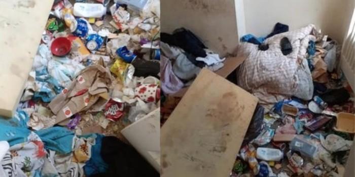 Penampakan rumah sewaan yang dipenuhi sampah.