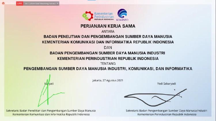 Badan Penelitian dan Pengembangan Sumber Daya Manusia melakukan perjanjian Kerja sama dengan Badan Pengembangan Sumber Daya Manusia Industri (BPSDMI)  Kementerian Perindustrian pada hari ini (27/8/2021). Kerja sama itu bertujuan untuk meningkatkan ekosistem sumber daya manusia bidang industri, komunikasi, dan informatika.
