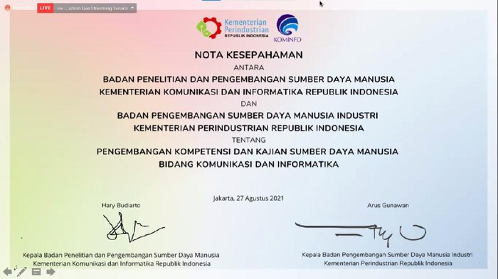 Kementerian Komunikasi dan Informatika dan Kemenperin menandatangani nota kesepahaman. Langkah ini untuk meningkatkan ekosistem SDM di bidang industri, komunikasi, dan informatika.
