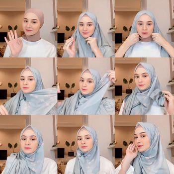 Tutorial hijab untuk wajah bulat.