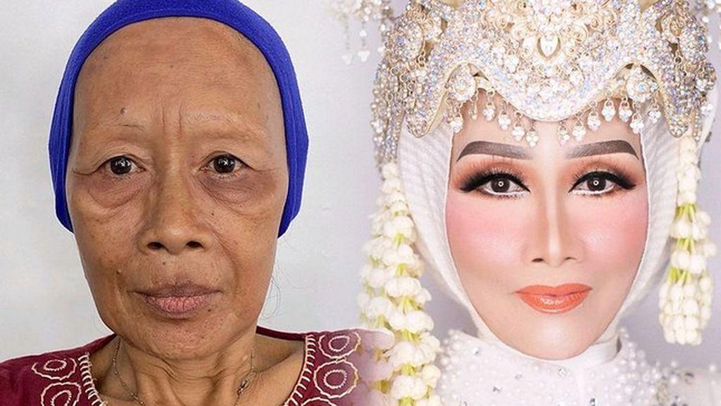 7 Transformasi Nenek Keriput Jadi Muda Lagi Setelah Makeup Pakai Lakban