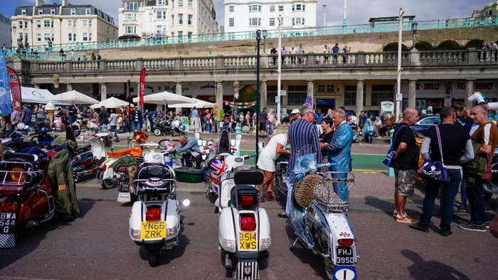 BRIGHTON, ENGLAND - AUGUST 29: A general view during the Mods annual bank holiday weekend gathering to Brighton on August 29, 2021 in Brighton, England. (Photo by Alan Crowhurst/Getty Images)