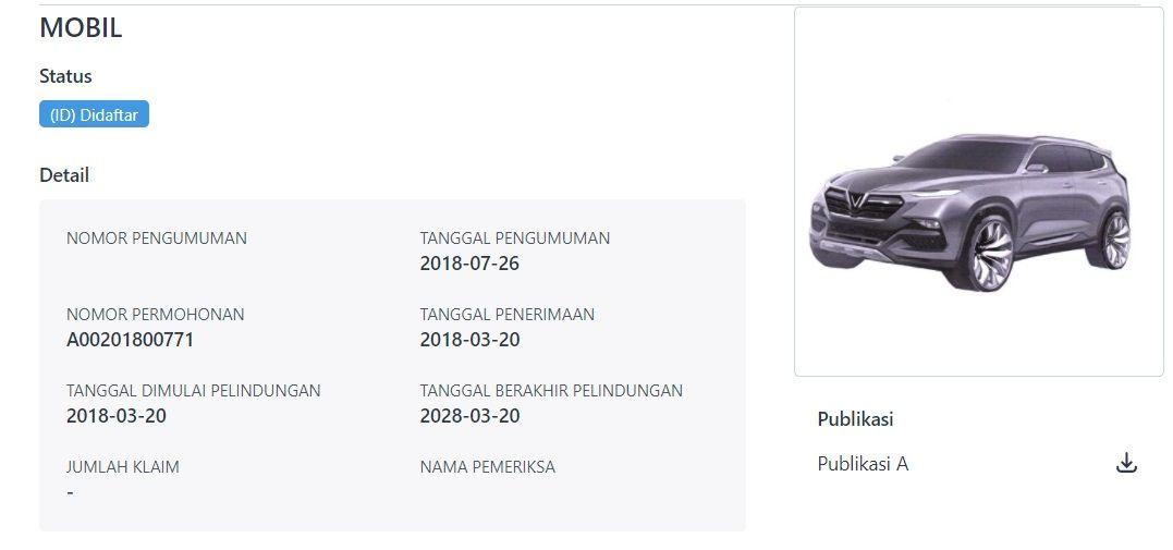 VinFast SA 2.0 Diduga sudah didaftarkan di Indonesia