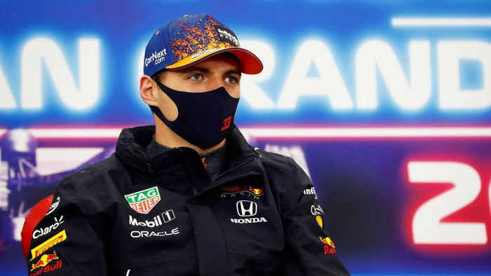 SPA, BELGIUM - AUGUST 29: Race winner Max Verstappen of Netherlands and Red Bull Racing talks in the press conference after the F1 Grand Prix of Belgium at Circuit de Spa-Francorchamps on August 29, 2021 in Spa, Belgium. (Photo by Antonin Vincent - Pool/Getty Images)
