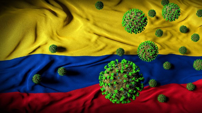 Colombia coronavirus invasion crisis abstract cover background. Government virus response, action, protection, awareness, threat handling, and prevention.