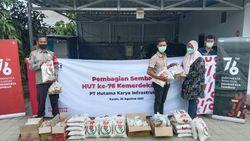 HKI Salurkan 600 Paket Sembako di Sekitar Proyek Tol Trans Sumatera