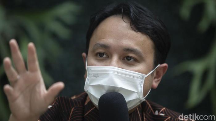 Wakil Menteri Perdagangan (Wamendag) Jerry Sambuaga mengunjungi Resto GIOI Menteng, Jakarta Pusat, Rabu (1/9/2021). Selain memantau penerapan protokol kesehatan ia juga berdiskusi dengan sejumlah pengusaha restoran.