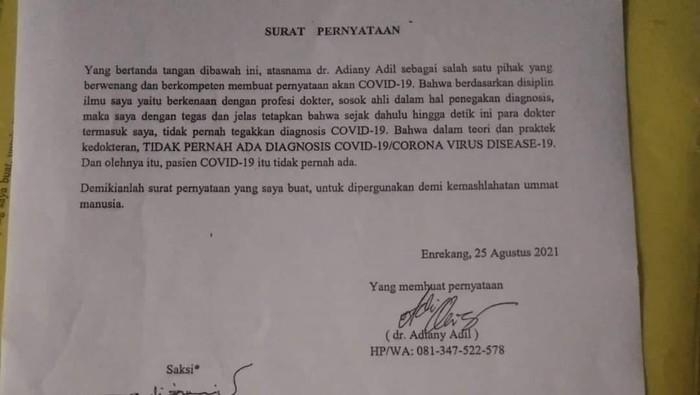 Pernyataan dokter di RSUD Enrekang, Sulsel Adiany Adil bahwa COVID-19 bukan diagnosa dan pasien COVID-19 tidak pernah ada. (dok. Istimewa)
