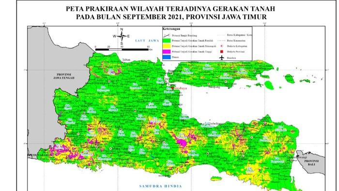 Ada 14 kecamatan di Bojonegoro yang memiliki potensi terjadi pergerakan tanah pada Bulan September ini. Mulai dari risiko menengah hingga menengah tinggi.