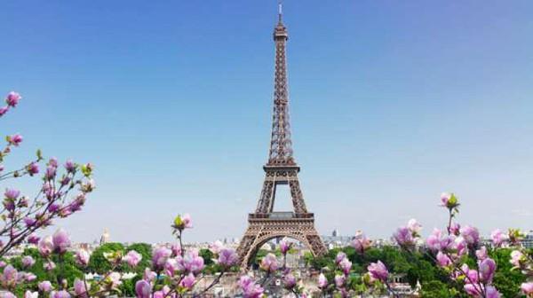 Keindahan menara Eiffel di Paris, Prancis, menjadi daya tarik wisatawan mancanegara. Landmark kota Paris ini semakin indah saat bunga-bunga bermekaran. Dok. USAToday