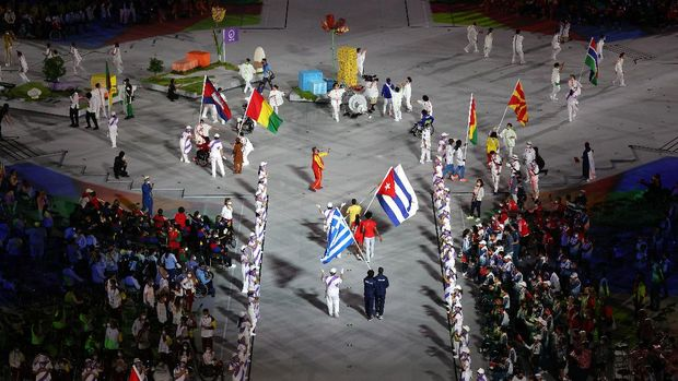 TOKYO, JAPAN - SEPTEMBER 05: A general view as the flag bearers of the competing nations enter the stadium during the Closing Ceremony on day 12 of the Tokyo 2020 Paralympic Games at Olympic Stadium on September 05, 2021 in Tokyo, Japan. (Photo by Alex Pantling/Getty Images)