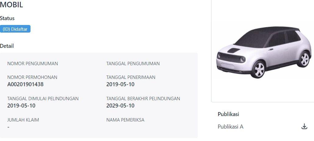 Paten Honda e di Indonesia
