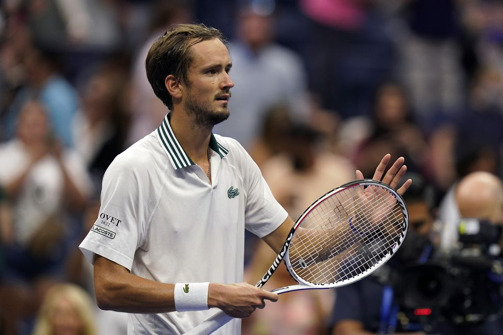 Daniil Medvedev, of Russia, celebrates after defeating Daniel Evans, of the United Kingdom, during the fourth round of the US Open tennis championships, Sunday, Sept. 5, 2021, in New York. (AP Photo/Seth Wenig)
